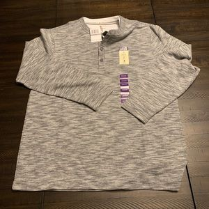 Other - Method Grey Heather Henley With White Faux Crew
